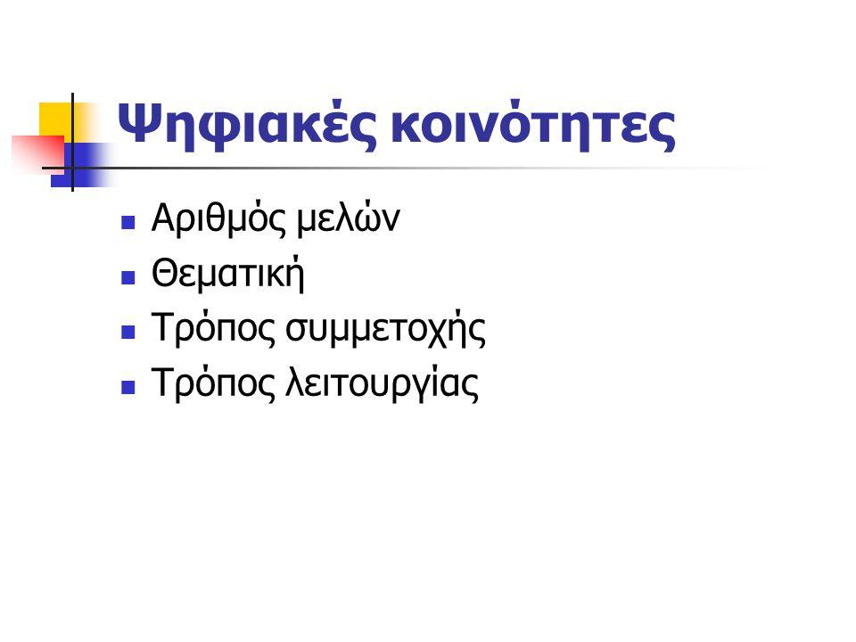 Ψηφιακές κοινότητες και περιβάλλοντα Σύγχρονη επικοινωνία: πολυμεσικό περιβάλλον (εικόνα, βίντεο, ήχος κείμενο, λ.χ., τα συστήματα Skype και MSN) Ασύγχρονη επικοινωνία: λ.χ., discussion lists, e-forae