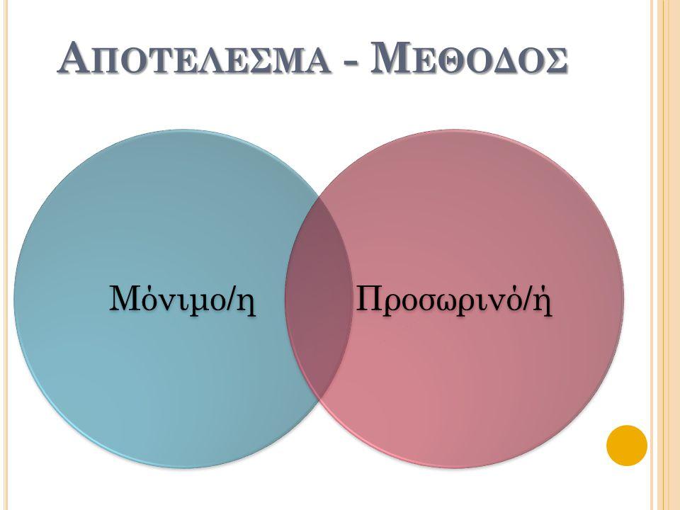 Α ΠΟΤΕΛΕΣΜΑ - Μ ΕΘΟΔΟΣ Μόνιμο/ηΠροσωρινό/ή