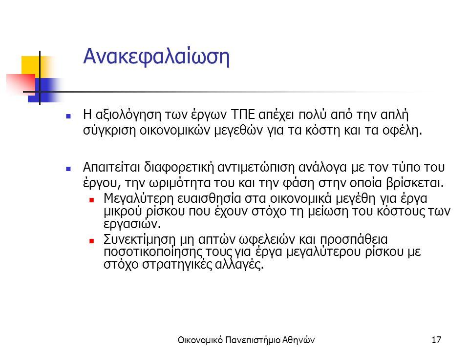 Οικονομικό Πανεπιστήμιο Αθηνών17 Ανακεφαλαίωση Η αξιολόγηση των έργων ΤΠΕ απέχει πολύ από την απλή σύγκριση οικονομικών μεγεθών για τα κόστη και τα οφέλη.