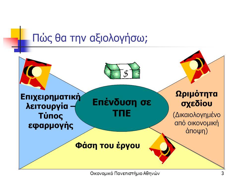 Οικονομικό Πανεπιστήμιο Αθηνών4 Κριτήριο 1: Η φάση του έργου Καθώς προχωρά η εκτέλεση του έργου τα κόστη και οι ωφέλειες αλλάζουν μορφή.