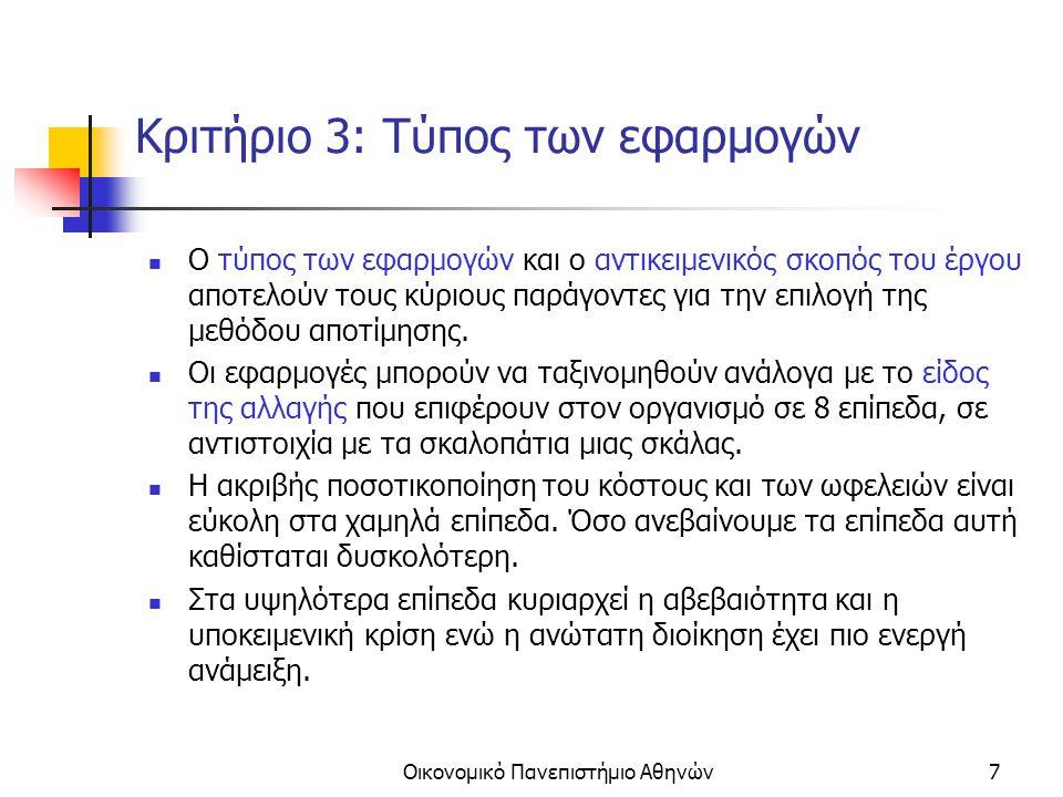 Οικονομικό Πανεπιστήμιο Αθηνών8 1 ο επίπεδο: Υποχρεωτικές αλλαγές (Mandatory Changes) Το έργο της αποτίμησης συνίσταται στο να καταρτίζονται τεχνικές μελέτες και να προσδιορίζονται τα κόστη των εναλλακτικών λύσεων.