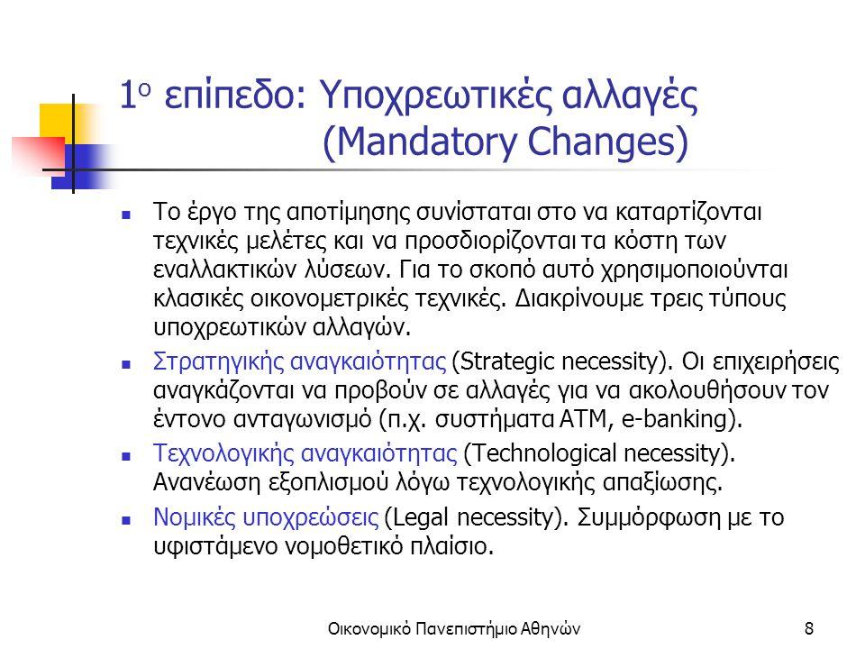 Οικονομικό Πανεπιστήμιο Αθηνών9 2 ο επίπεδο: Αυτοματισμός (Automation) Οι εφαρμογές αυτού του επιπέδου έχουν σκοπό να αυτοματοποιήσουν επαναληπτικές διαδικασίες με σκοπό την μείωση του κόστους (π.χ.