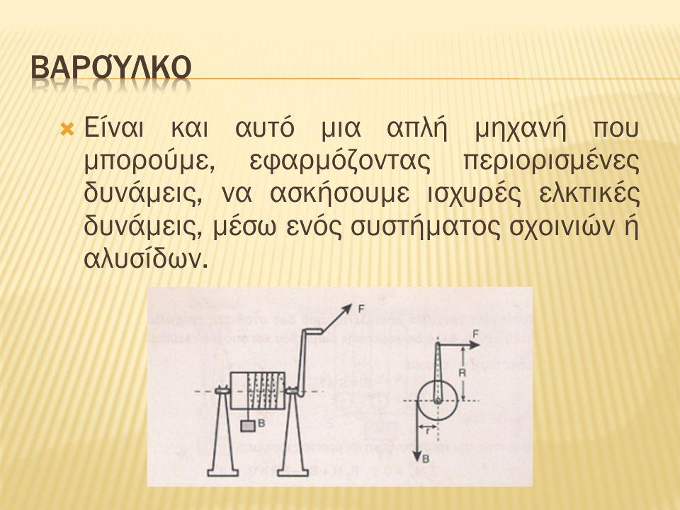  Είναι και αυτό μια απλή μηχανή που μπορούμε, εφαρμόζοντας περιορισμένες δυνάμεις, να ασκήσουμε ισχυρές ελκτικές δυνάμεις, μέσω ενός συστήματος σχοινιών ή αλυσίδων.