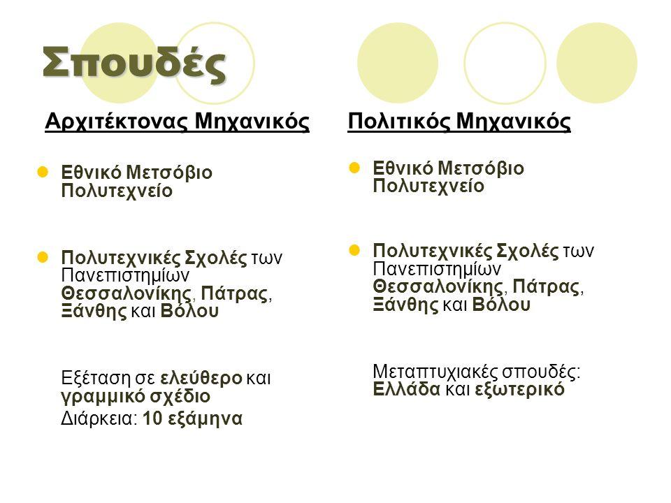 Σπουδές Αρχιτέκτονας Μηχανικός Εθνικό Μετσόβιο Πολυτεχνείο Πολυτεχνικές Σχολές των Πανεπιστημίων Θεσσαλονίκης, Πάτρας, Ξάνθης και Βόλου Εξέταση σε ελεύθερο και γραμμικό σχέδιο Διάρκεια: 10 εξάμηνα Πολιτικός Μηχανικός Εθνικό Μετσόβιο Πολυτεχνείο Πολυτεχνικές Σχολές των Πανεπιστημίων Θεσσαλονίκης, Πάτρας, Ξάνθης και Βόλου Μεταπτυχιακές σπουδές: Ελλάδα και εξωτερικό