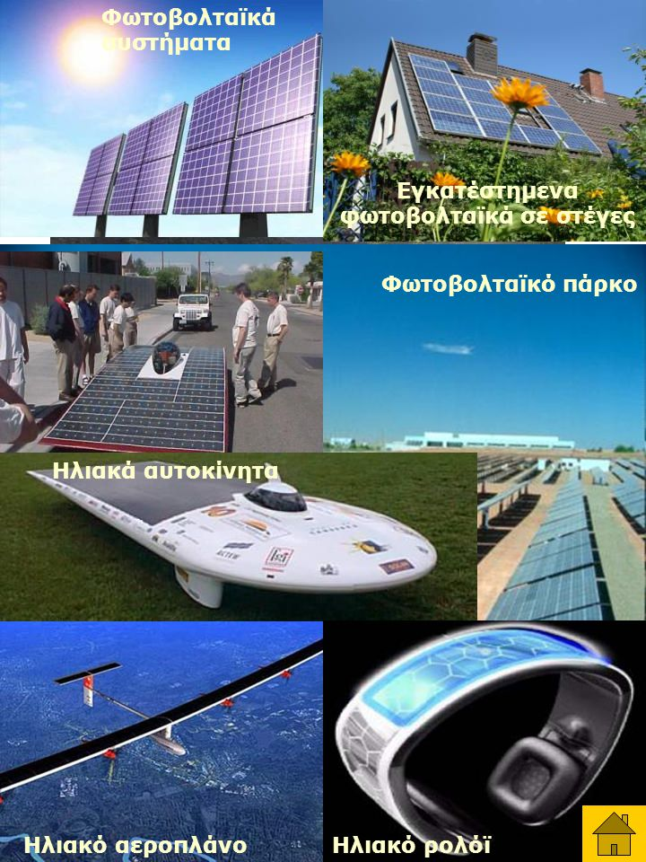 Ηλιακός συλλέκτης - θερμοσυσωρευτής Φωτοβολταϊκά συστήματα Φωτοβολταϊκό πάρκο Ηλιακά αυτοκίνητα Ηλιακό ρολόϊ Εγκατέστημενα φωτοβολταϊκά σε στέγες Ηλιακό αεροπλάνο