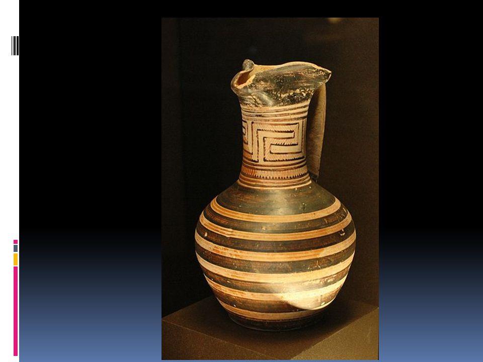  Επίσης η εμφάνιση της ανθρώπινης μορφής αποτελεί ορόσημο για την αρχαία Ελληνική αγγειογραφία.  Τα μοτίβα που χρησιμοποιούνται είναι ζώνες κατακόρυ