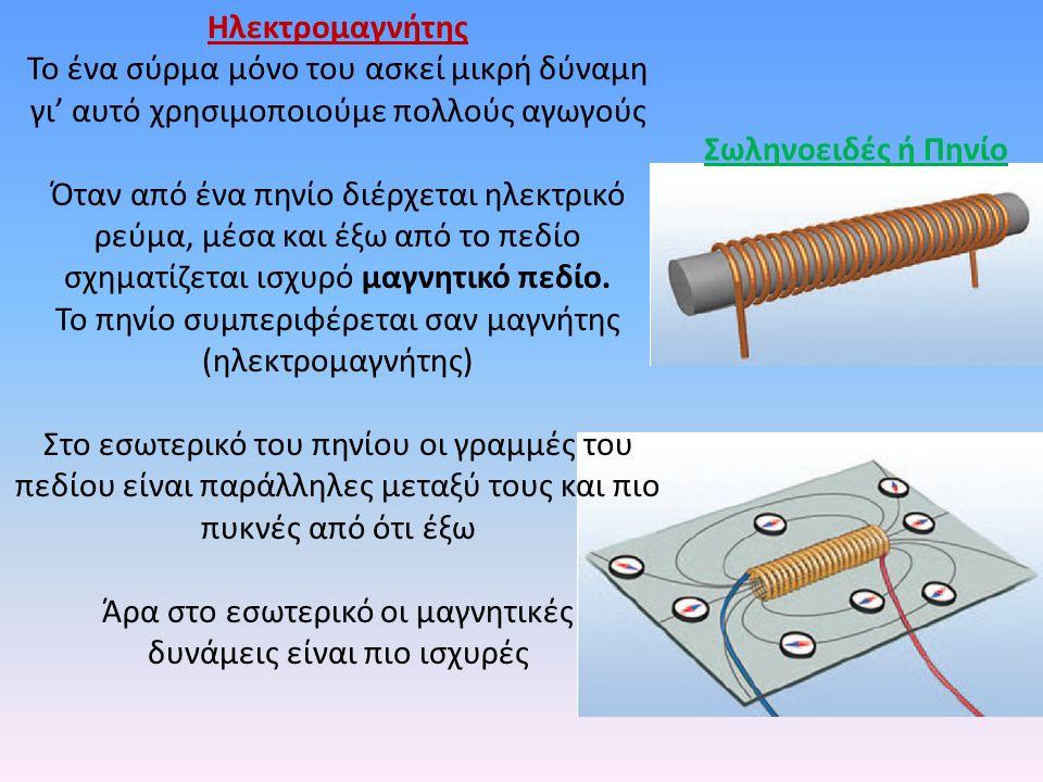 Σωληνοειδές ή Πηνίο Ηλεκτρομαγνήτης Το ένα σύρμα μόνο του ασκεί μικρή δύναμη γι' αυτό χρησιμοποιούμε πολλούς αγωγούς Όταν από ένα πηνίο διέρχεται ηλεκτρικό ρεύμα, μέσα και έξω από το πεδίο σχηματίζεται ισχυρό μαγνητικό πεδίο.