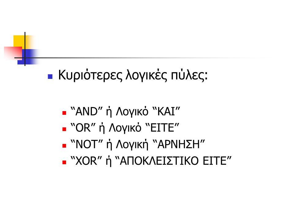 """Κυριότερες λογικές πύλες: """"AND"""" ή Λογικό """"ΚΑΙ"""" """"OR"""" ή Λογικό """"EITE"""" """"NOT"""" ή Λογική """"ΑΡΝΗΣΗ"""" """"XOR"""" ή """"ΑΠΟΚΛΕΙΣΤΙΚΟ ΕΙΤΕ"""""""