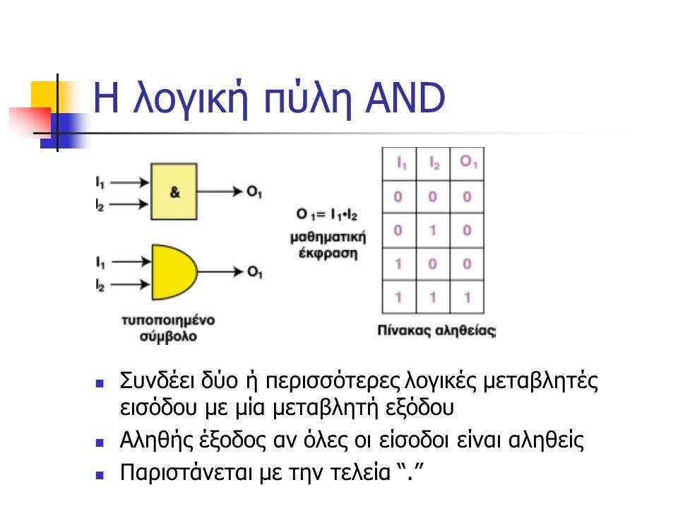 Η λογική πύλη AND Συνδέει δύο ή περισσότερες λογικές μεταβλητές εισόδου με μία μεταβλητή εξόδου Αληθής έξοδος αν όλες οι είσοδοι είναι αληθείς Παριστά
