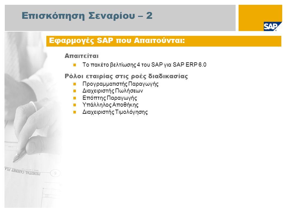 Επισκόπηση Σεναρίου – 2 Απαιτείται Το πακέτο βελτίωσης 4 του SAP για SAP ERP 6.0 Ρόλοι εταιρίας στις ροές διαδικασίας Προγραμματιστής Παραγωγής Διαχειριστής Πωλήσεων Επόπτης Παραγωγής Υπάλληλος Αποθήκης Διαχειριστής Τιμολόγησης Εφαρμογές SAP που Απαιτούνται: