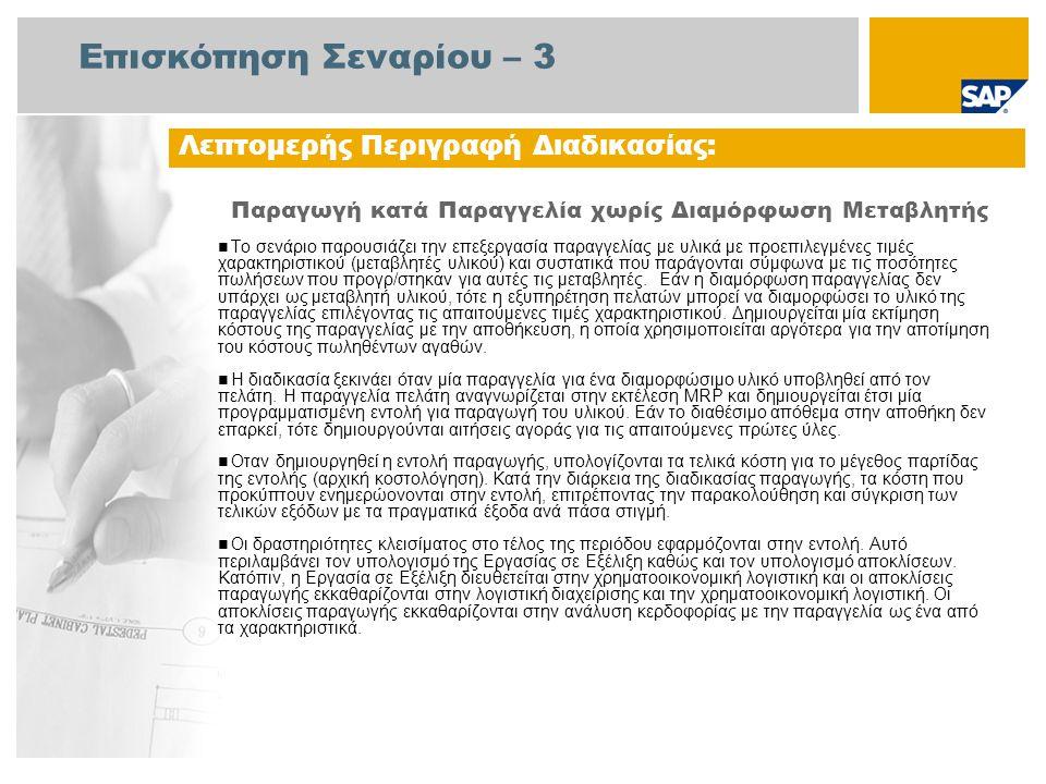 Διάγραμμα Ροής Εργασιών Παραγωγή κατά Παραγγελία χωρίς Διαμόρφωση Μεταβλητής Γεγονός Παραγωγή Αίτηση για Παραγγελία ΜΤΟ Επιβεβαίωση Εντολής Βήματα Παραγ.: Επεξεργ.Εντολ.Πα ραγωγής Βάσει Αποθέματος (MTS) (145) Επεξεργ.Εντολ.
