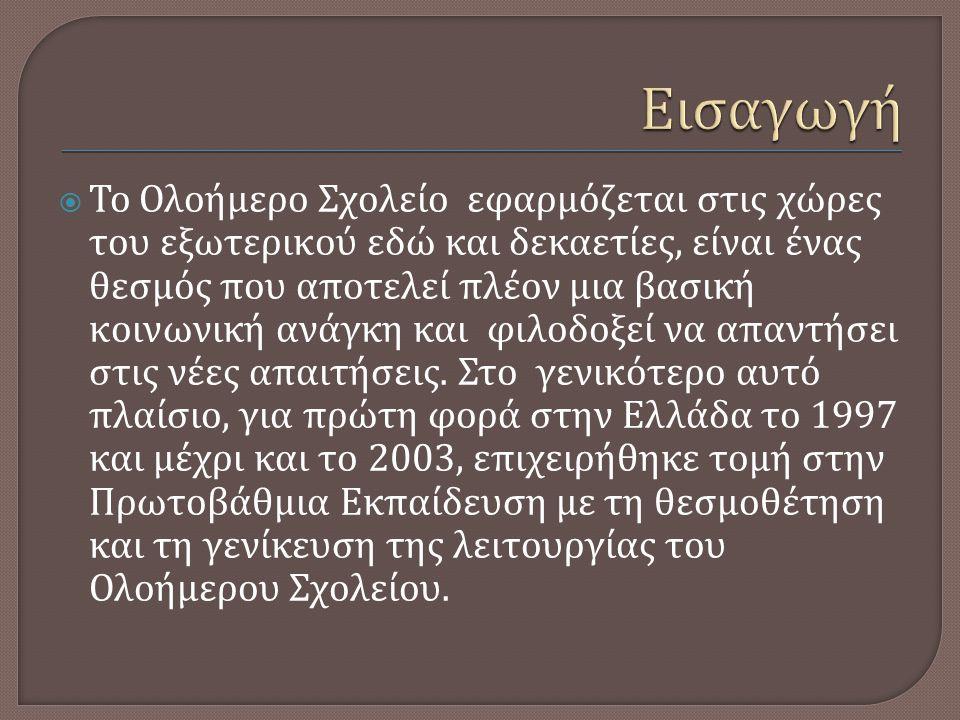 ΘΕΤΙΚΑ ΣΤΟΙΧΕΙΑ  Υπεράσπιση δημόσιου χαρακτήρα εκπαίδευσης  Ανταπόκριση στον κοινωνικό του στόχο  Αύξηση του χρόνου παραμονής στο σχολείο και επαφής των μαθητών που ανήκουν σε ευπαθείς κοινωνικές ομάδες με την ελληνική γλώσσα και πολιτισμό  Ενεργητική συμμετοχή εκπαιδευτικών, μαθητών και γονέων στο σχεδιασμό του προγράμματος κάθε σχολικής μονάδας  Κοινωνικοποίηση του μαθητή  Συμβολή στη μείωση των σχολικών ανισοτήτων