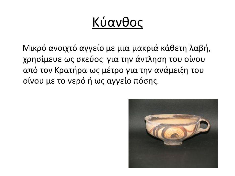 Κύανθος Μικρό ανοιχτό αγγείο με μια μακριά κάθετη λαβή, χρησίμευε ως σκεύος για την άντληση του οίνου από τον Κρατήρα ως μέτρο για την ανάμειξη του οίνου με το νερό ή ως αγγείο πόσης.