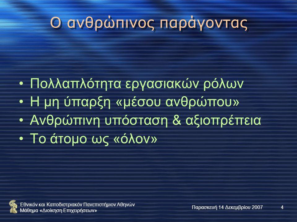 Εθνικόν και Καποδιστριακόν Πανεπιστήμιον Αθηνών Μάθημα «Διοίκηση Επιχειρήσεων» Παρασκευή 14 Δεκεμβρίου 20074 Ο ανθρώπινος παράγοντας Πολλαπλότητα εργασιακών ρόλων Η μη ύπαρξη «μέσου ανθρώπου» Ανθρώπινη υπόσταση & αξιοπρέπεια Το άτομο ως «όλον»