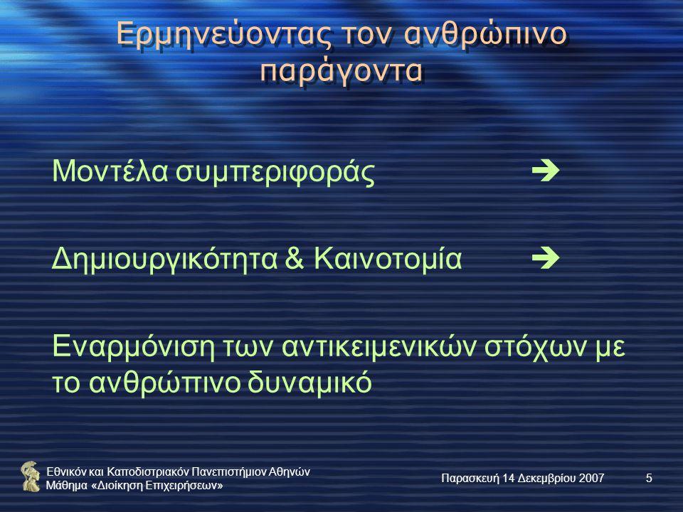 Εθνικόν και Καποδιστριακόν Πανεπιστήμιον Αθηνών Μάθημα «Διοίκηση Επιχειρήσεων» Παρασκευή 14 Δεκεμβρίου 20075 Ερμηνεύοντας τον ανθρώπινο παράγοντα Μοντέλα συμπεριφοράς  Δημιουργικότητα & Καινοτομία  Εναρμόνιση των αντικειμενικών στόχων με το ανθρώπινο δυναμικό