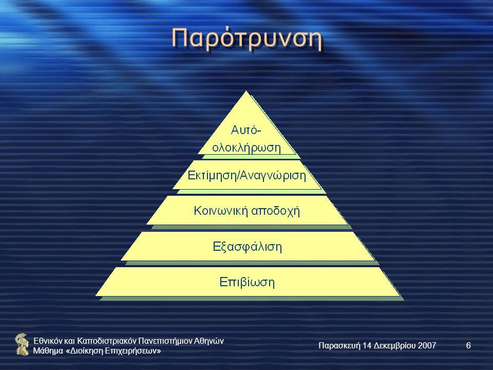 Εθνικόν και Καποδιστριακόν Πανεπιστήμιον Αθηνών Μάθημα «Διοίκηση Επιχειρήσεων» Παρασκευή 14 Δεκεμβρίου 20076 Παρότρυνση