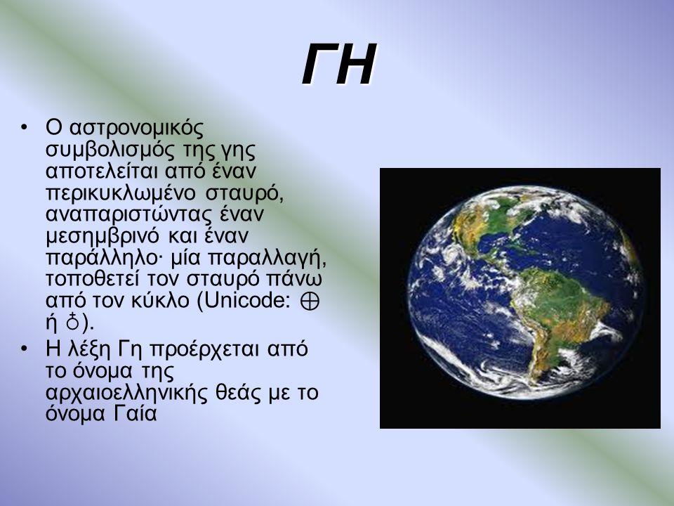 ΓΗ Ο αστρονομικός συμβολισμός της γης αποτελείται από έναν περικυκλωμένο σταυρό, αναπαριστώντας έναν μεσημβρινό και έναν παράλληλο· μία παραλλαγή, τοποθετεί τον σταυρό πάνω από τον κύκλο (Unicode: ⊕ ή ♁ ).