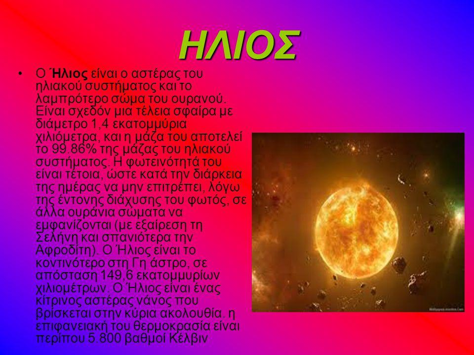 ΗΛΙΟΣ Ο Ήλιος είναι ο αστέρας του ηλιακού συστήματος και το λαμπρότερο σώμα του ουρανού.