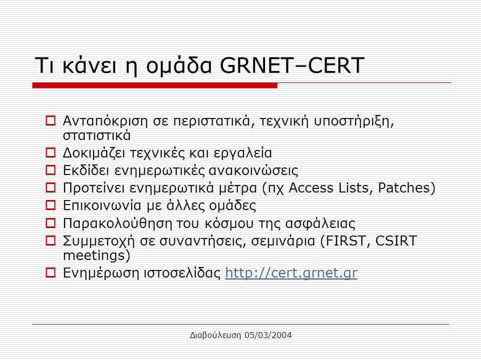 Διαβούλευση 05/03/2004 Τι κάνει η ομάδα GRNET–CERT  Ανταπόκριση σε περιστατικά, τεχνική υποστήριξη, στατιστικά  Δοκιμάζει τεχνικές και εργαλεία  Εκ