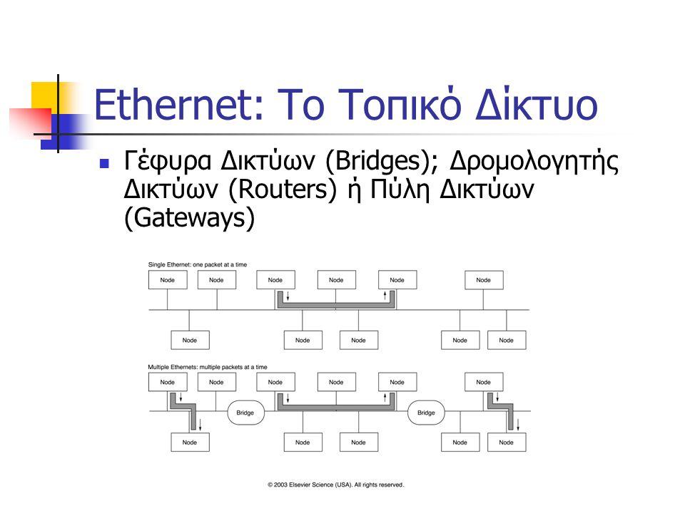 Ethernet: Το Τοπικό Δίκτυο Γέφυρα Δικτύων (Bridges); Δρομολογητής Δικτύων (Routers) ή Πύλη Δικτύων (Gateways)