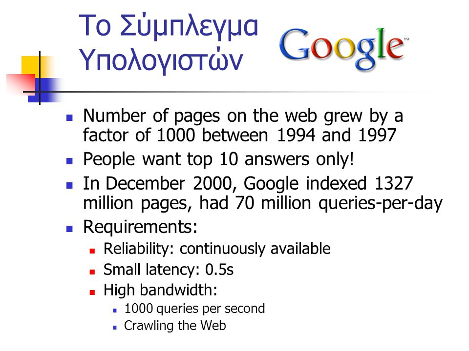 Το Σύμπλεγμα Υπολογιστών Number of pages on the web grew by a factor of 1000 between 1994 and 1997 People want top 10 answers only.
