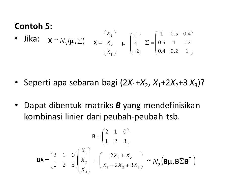 Contoh 5: Jika: Seperti apa sebaran bagi (2X 1 +X 2, X 1 +2X 2 +3 X 3 )? Dapat dibentuk matriks B yang mendefinisikan kombinasi linier dari peubah-peu