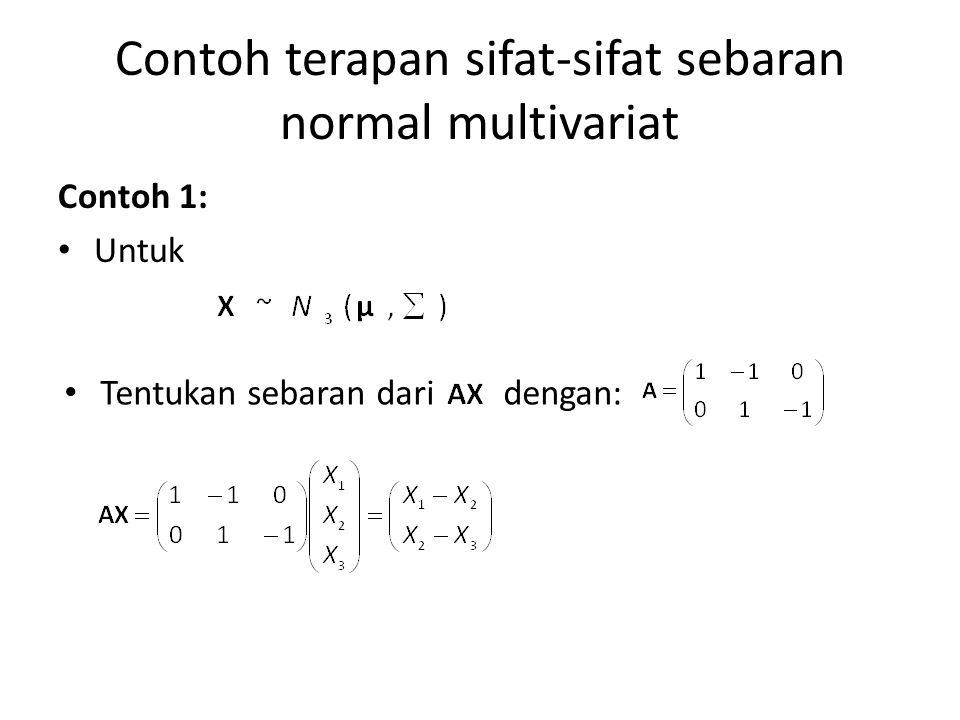 Contoh terapan sifat-sifat sebaran normal multivariat Contoh 1: Untuk Tentukan sebaran dari dengan: