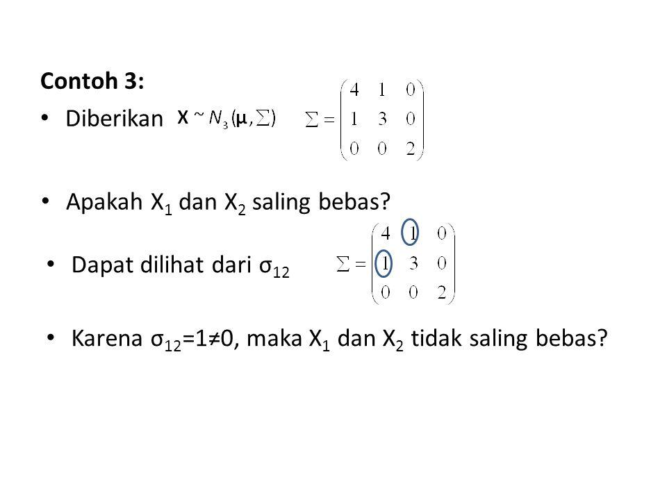 Contoh 3: Diberikan Apakah X 1 dan X 2 saling bebas? Dapat dilihat dari σ 12 Karena σ 12 =1≠0, maka X 1 dan X 2 tidak saling bebas?