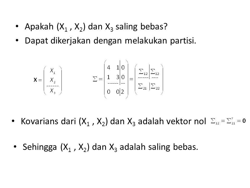 Apakah (X 1, X 2 ) dan X 3 saling bebas? Dapat dikerjakan dengan melakukan partisi. Kovarians dari (X 1, X 2 ) dan X 3 adalah vektor nol Sehingga (X 1