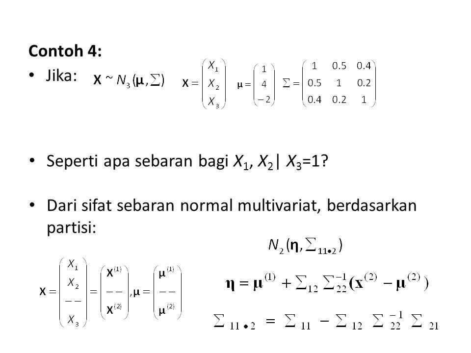Contoh 4: Jika: Seperti apa sebaran bagi X 1, X 2 | X 3 =1? Dari sifat sebaran normal multivariat, berdasarkan partisi: