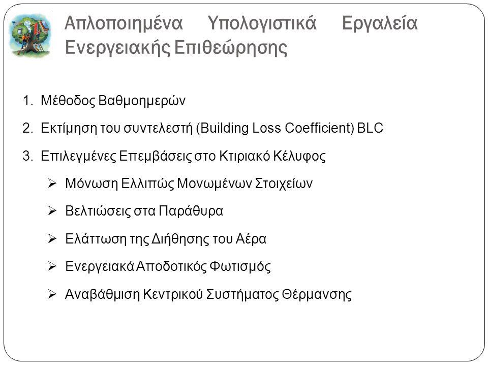 Απλοποιημένα Υπολογιστικά Εργαλεία Ενεργειακής Επιθεώρησης 1.Μέθοδος Βαθμοημερών 2.Εκτίμηση του συντελεστή (Building Loss Coefficient) BLC 3.Επιλεγμένες Επεμβάσεις στο Κτιριακό Κέλυφος  Μόνωση Ελλιπώς Μονωμένων Στοιχείων  Βελτιώσεις στα Παράθυρα  Ελάττωση της Διήθησης του Αέρα  Ενεργειακά Αποδοτικός Φωτισμός  Αναβάθμιση Κεντρικού Συστήματος Θέρμανσης