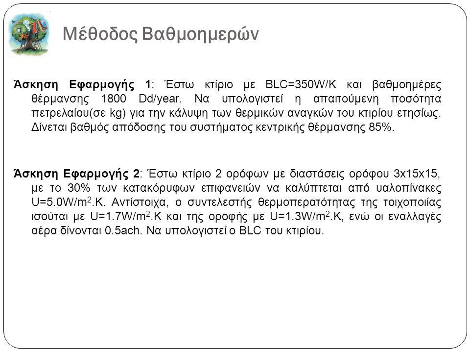 Μέθοδος Βαθμοημερών Άσκηση Εφαρμογής 1: Έστω κτίριο με BLC=350W/K και βαθμοημέρες θέρμανσης 1800 Dd/year. Να υπολογιστεί η απαιτούμενη ποσότητα πετρελ