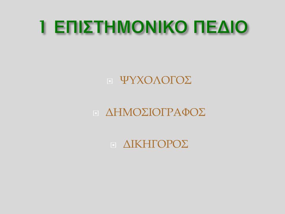  ΨΥΧΟΛΟΓΟΣ  ΔΗΜΟΣΙΟΓΡΑΦΟΣ  ΔΙΚΗΓΟΡΟΣ