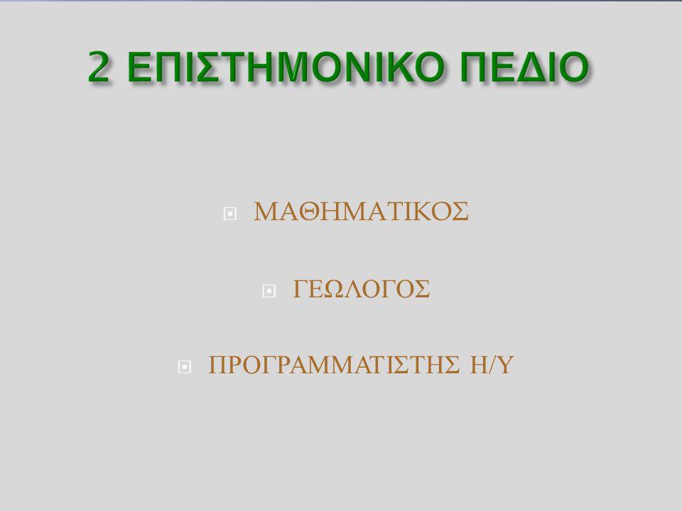  ΜΑΘΗΜΑΤΙΚΟΣ  ΓΕΩΛΟΓΟΣ  ΠΡΟΓΡΑΜΜΑΤΙΣΤΗΣ Η / Υ