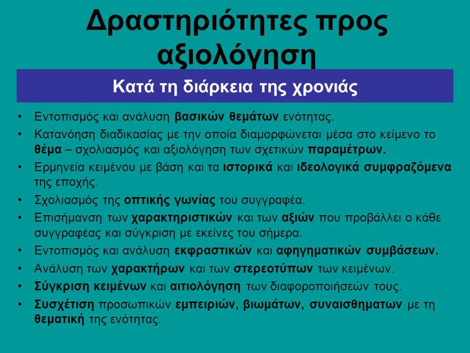 Δραστηριότητες προς αξιολόγηση Εντοπισμός και ανάλυση βασικών θεμάτων ενότητας.