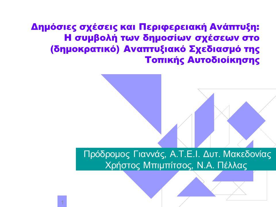 2 Εισαγωγή-Ατζέντα Η πρόκληση της συμμετοχικής δημοκρατίας και ο νέος ρόλος της Τοπικής Αυτοδιοίκησης Το όραμα για την Αειφόρο Ανάπτυξη και η Τοπική Ατζέντα 21 Η συμβολή των δημοσίων σχέσεων και προγραμμάτων επικοινωνίας στο δημοκρατικό προγραμματισμό Ηλεκτρονική διακυβέρνηση ή ηλεκτρονική δημοκρατία; Αξιολόγηση των διαδικασιών του δημοκρατικού προγραμματισμού