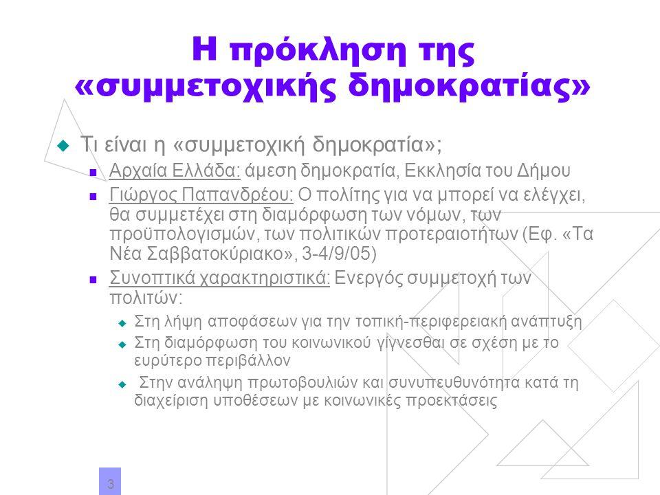 3 Η πρόκληση της «συμμετοχικής δημοκρατίας»  Τι είναι η «συμμετοχική δημοκρατία»; Αρχαία Ελλάδα: άμεση δημοκρατία, Εκκλησία του Δήμου Γιώργος Παπανδρ