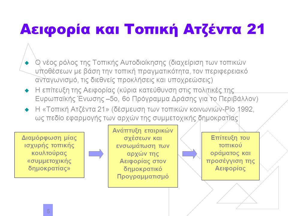 5 Αειφορία και Τοπική Ατζέντα 21  Ο νέος ρόλος της Τοπικής Αυτοδιοίκησης (διαχείριση των τοπικών υποθέσεων με βάση την τοπική πραγματικότητα, τον περ