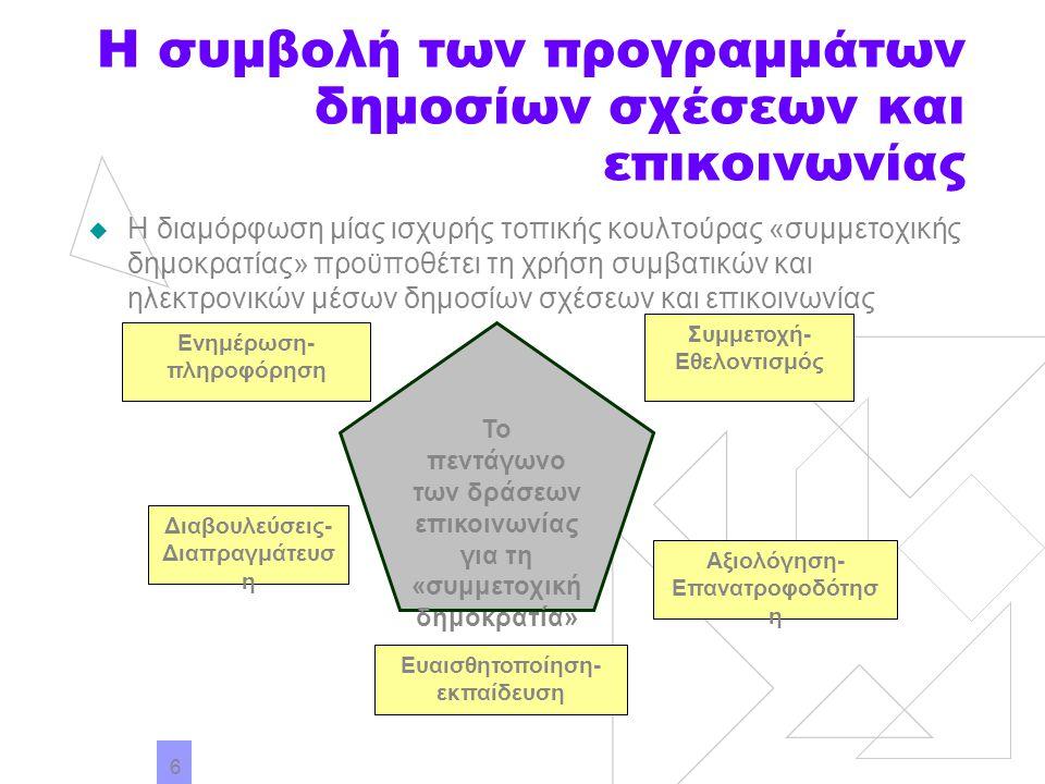 7 Οι ηλεκτρονικές δημόσιες σχέσεις της τοπικής αυτοδιοίκησης Από την επισκόπηση 5 ενδεικτικών δικτυακών πυλών ελληνικών Δήμων (Αθηναίων, Αμαρουσίου, Θεσσαλονίκης, Βόλου, Χανίων) προκύπτει ότι: Οι ιστοσελίδες είναι ελάχιστα διαδραστικές – δεν υπάρχει η δυνατότητα για ηλεκτρονικό διάλογο στο πλαίσιο ομάδων με κοινά ενδιαφέροντα Η παρουσίαση των επίσημων πολιτικών, η πληροφόρηση για τα αναπτυξιακά προγράμματα και το δημοκρατικό προγραμματισμό είναι αποσπασματική Η μέριμνα για την υποστήριξη των τοπικών επενδύσεων και το μάρκετινγκ των τοπικών προϊόντων και υπηρεσιών είναι περιορισμένη Δεν λαμβάνεται μέριμνα για την πληροφόρηση δημοτών που δε γνωρίζουν την ελληνική γλώσσα