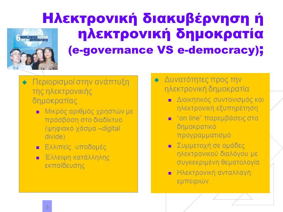 8 Ηλεκτρονική διακυβέρνηση ή ηλεκτρονική δημοκρατία (e-governance VS e-democracy) ;  Περιορισμοί στην ανάπτυξη της ηλεκτρονικής δημοκρατίας Μικρός αρ