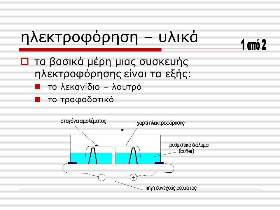 ηλεκτροφόρηση – υλικά  τα βασικά μέρη μιας συσκευής ηλεκτροφόρησης είναι τα εξής: το λεκανίδιο – λουτρό το τροφοδοτικό