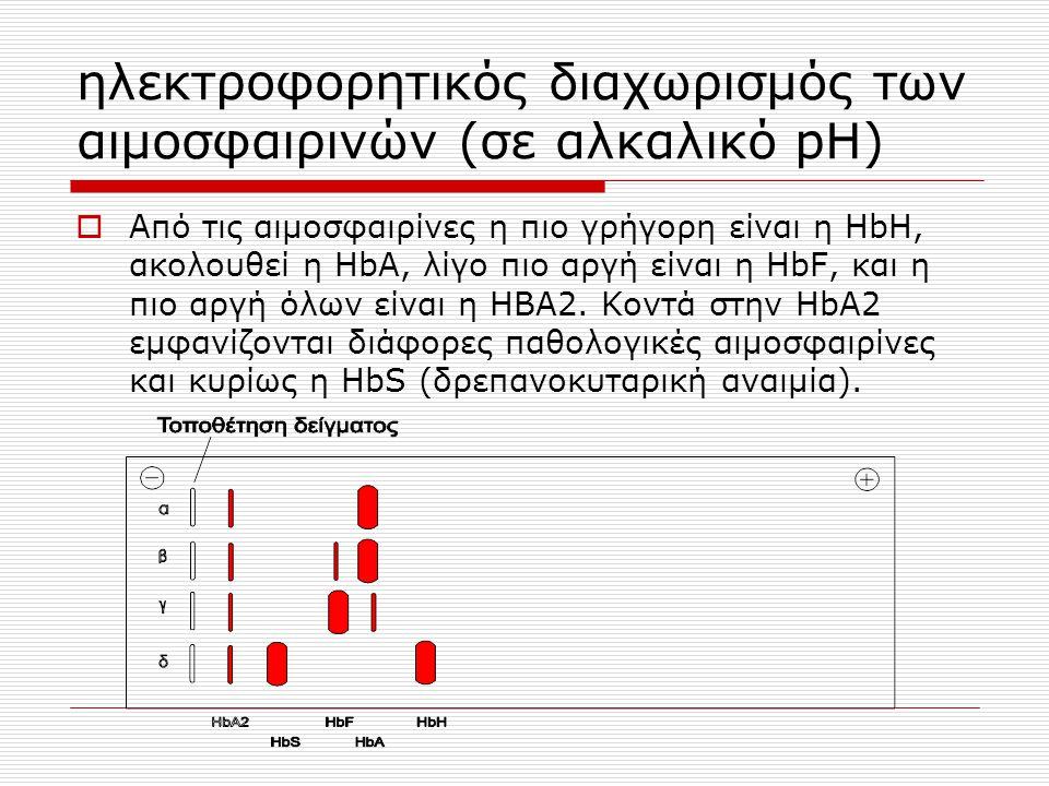 ηλεκτροφορητικός διαχωρισμός των αιμοσφαιρινών (σε αλκαλικό pH)  Από τις αιμοσφαιρίνες η πιο γρήγορη είναι η HbH, ακολουθεί η HbΑ, λίγο πιο αργή είνα