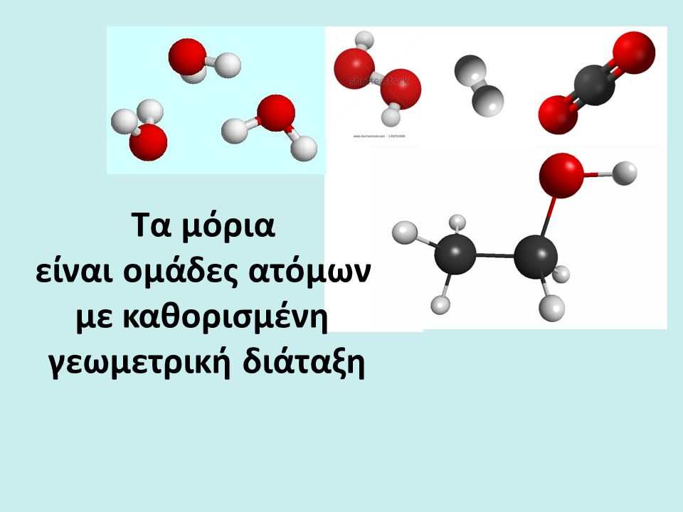 Τα μόρια είναι ομάδες ατόμων με καθορισμένη γεωμετρική διάταξη