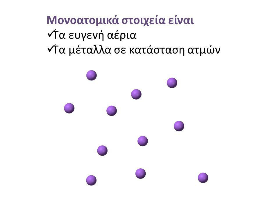 Μονοατομικά στοιχεία είναι Τα ευγενή αέρια Τα μέταλλα σε κατάσταση ατμών