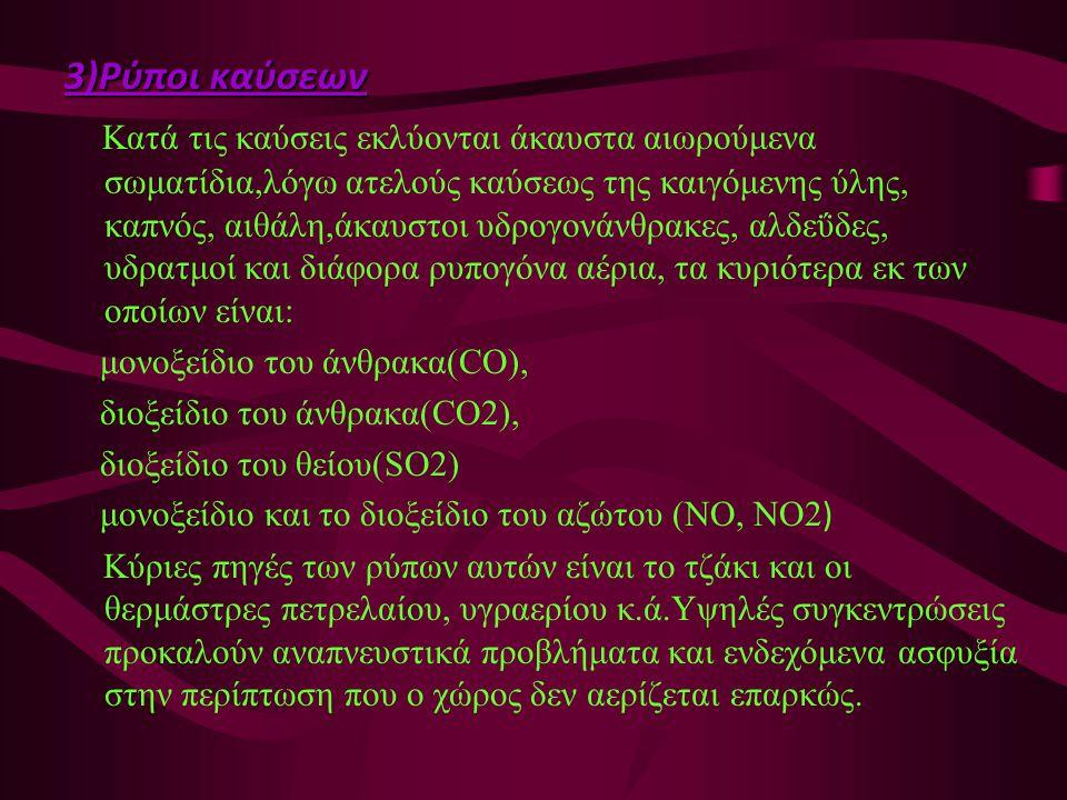 3)Ρύποι καύσεων Κατά τις καύσεις εκλύονται άκαυστα αιωρούμενα σωματίδια,λόγω ατελούς καύσεως της καιγόμενης ύλης, καπνός, αιθάλη,άκαυστοι υδρογονάνθρα
