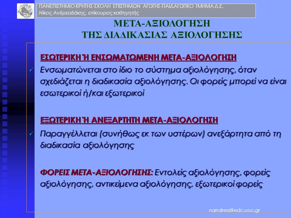 ΜΕΤΑ-ΑΞΙΟΛΟΓΗΣΗ ΤΗΣ ΔΙΑΔΙΚΑΣΙΑΣ ΑΞΙΟΛΟΓΗΣΗΣ ΕΣΩΤΕΡΙΚΗ Ή ΕΝΣΩΜΑΤΩΜΕΝΗ ΜΕΤΑ-ΑΞΙΟΛΟΓΗΣΗ  Ενσωματώνεται στο ίδιο το σύστημα αξιολόγησης, όταν σχεδιάζεται