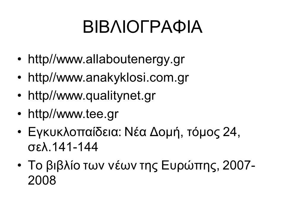 ΒΙΒΛΙΟΓΡΑΦΙΑ http//www.allaboutenergy.gr http//www.anakyklosi.com.gr http//www.qualitynet.gr http//www.tee.gr Εγκυκλοπαίδεια: Νέα Δομή, τόμος 24, σελ.