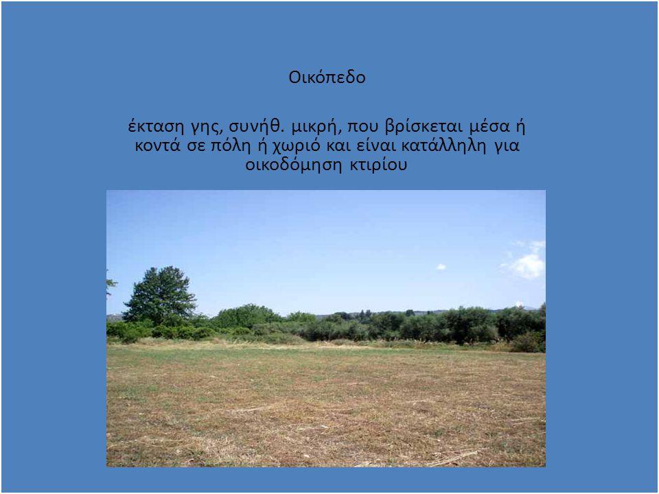… … Οικόπεδο έκταση γης, συνήθ.