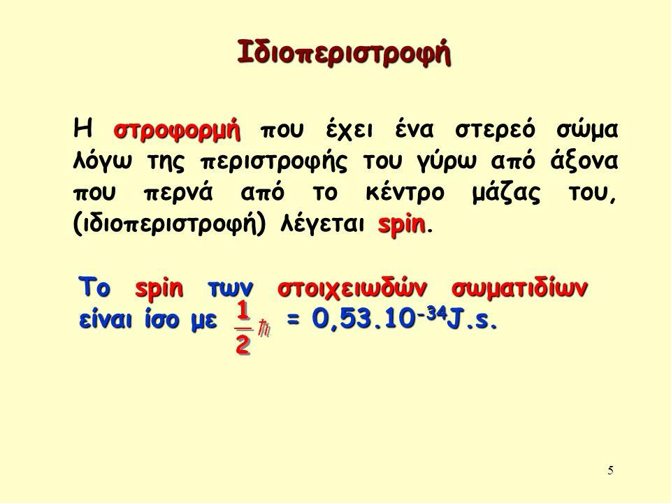 5 Ιδιοπεριστροφή στροφορμή spin Η στροφορμή που έχει ένα στερεό σώμα λόγω της περιστροφής του γύρω από άξονα που περνά από το κέντρο μάζας του, (ιδιοπεριστροφή) λέγεται spin.