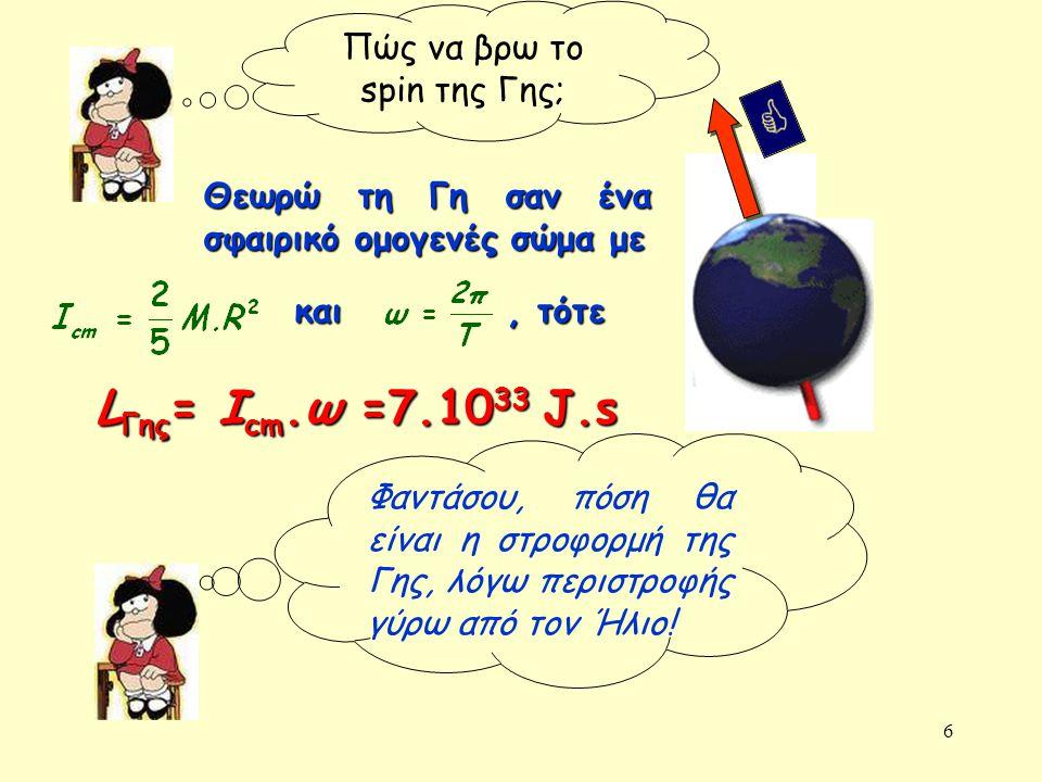 6 Πώς να βρω το spin της Γης; Θεωρώ τη Γη σαν ένα σφαιρικό ομογενές σώμα με και, τότε L Γης = I cm.ω =7.10 33 J.s Φαντάσου, πόση θα είναι η στροφορμή της Γης, λόγω περιστροφής γύρω από τον Ήλιο!